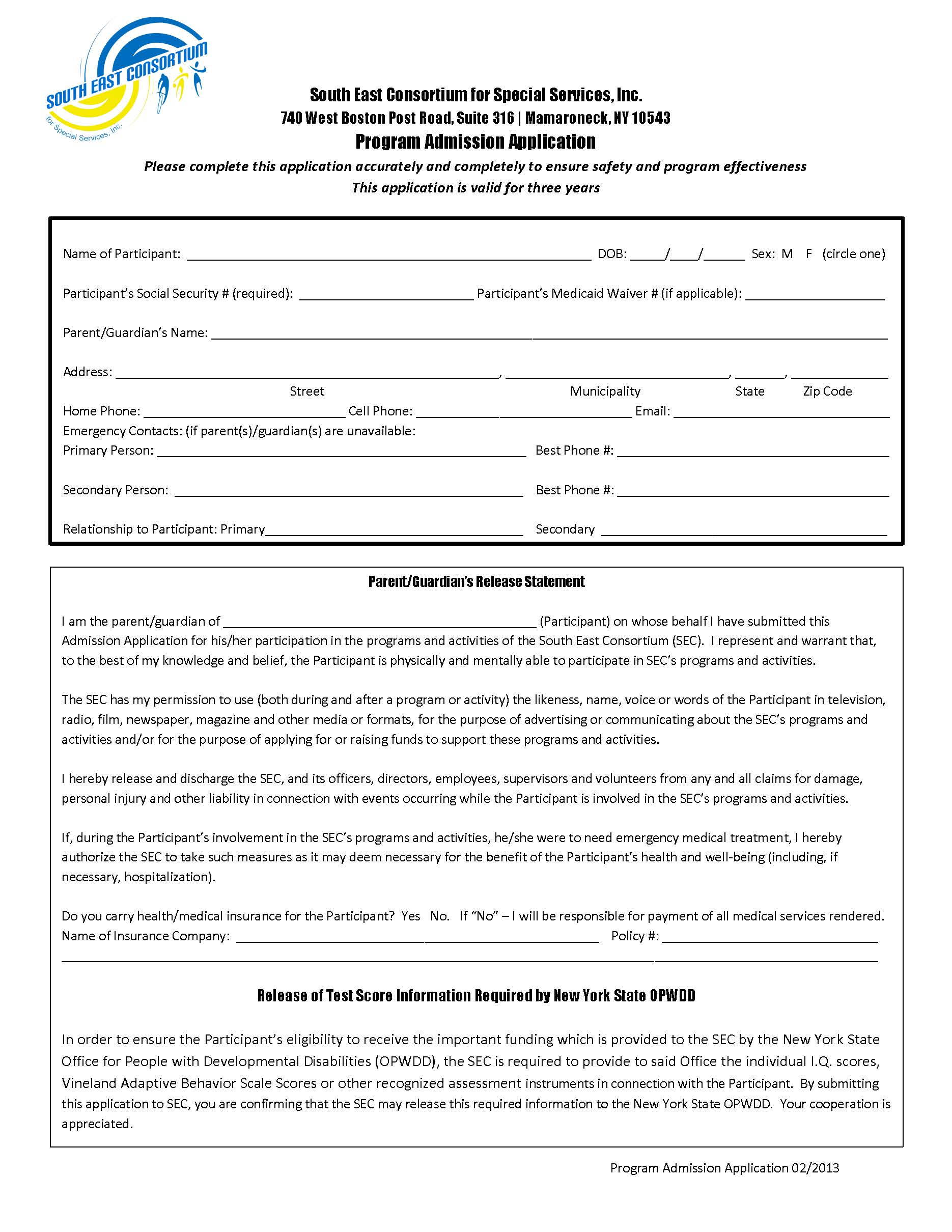 Admissions Application Form